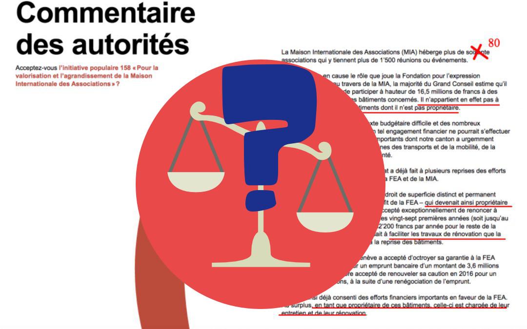 Avis de droit: l'Etat fait de la désinformation sur l'initiative IN 158 pour la valorisation de la Maison des Associations