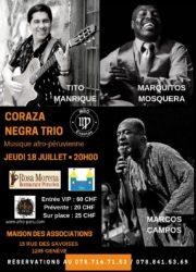 Concert de musique afro-péruvienne avec Coraza negra trio. Jeudi 18 juillet