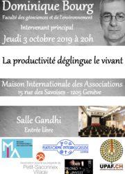 """Conférence Dominique Bourg """"La productivité déglingue le vivant"""""""
