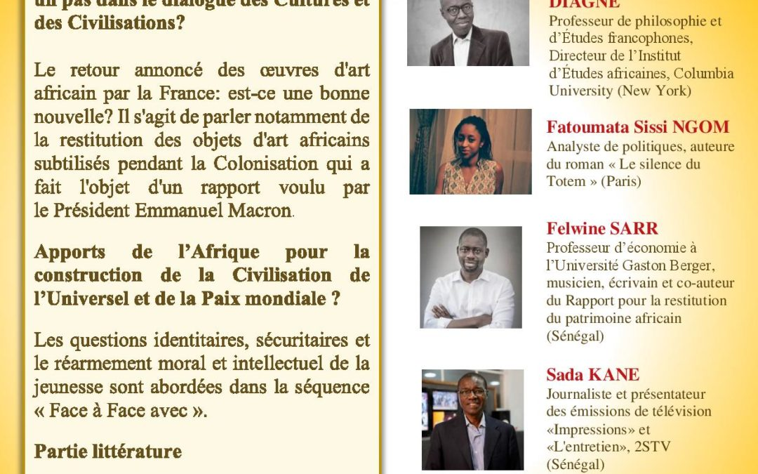 Gingembre littéraire à la MIA le 1er mai.« La restitution du patrimoine africain: Un pas dans le dialogue des Cultures et des Civilisations?»