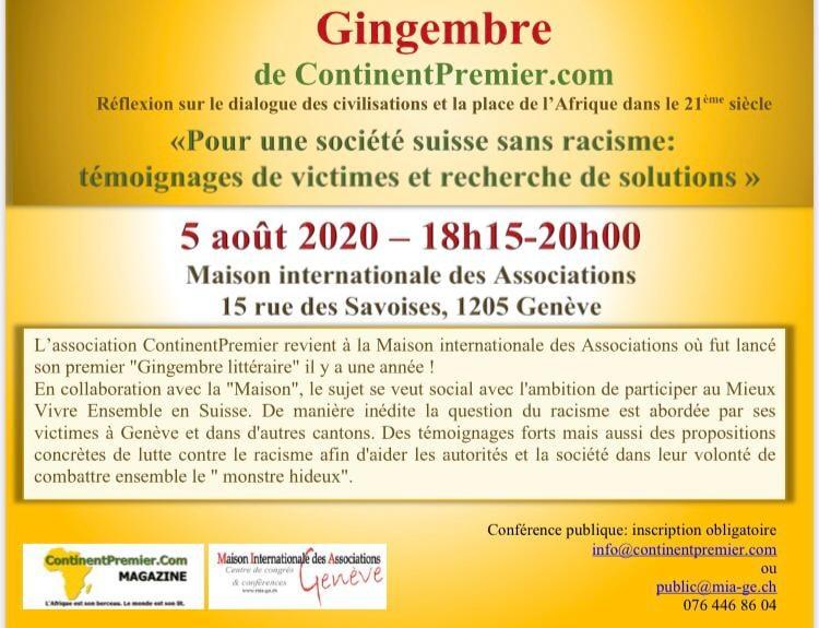 Gingembre Littéraire à la MIA sur le racisme en Suisse. Mercredi 5 août 18h 15